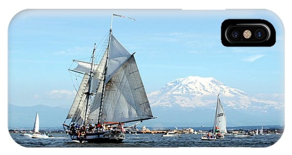 Tall Ship And Mt. Rainier IPhone Case