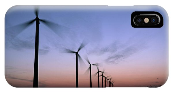 Tall Windmills Are Silhouetted IPhone Case