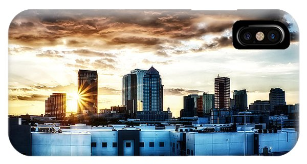 Tampa Skyline At Sunset Hdr 1 IPhone Case