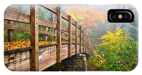 Tanawha Trail Foot Bridge - Rough Ridge Autumn Foliage Nc IPhone Case