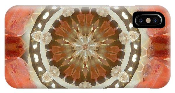 Tangerine Lemurian Seed Crystal Mandala IPhone Case