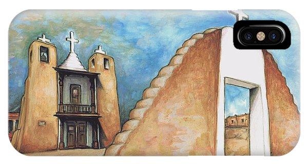 Taos Pueblo New Mexico - Watercolor Art Painting IPhone Case