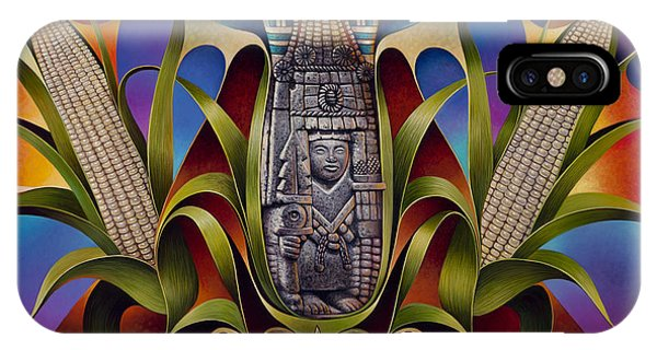 Aztec iPhone Case - Tapestry Of Gods - Chicomecoatl by Ricardo Chavez-Mendez