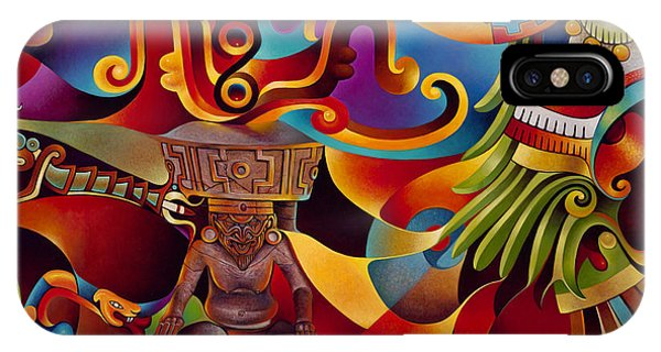 Aztec iPhone Case - Tapestry Of Gods - Huehueteotl by Ricardo Chavez-Mendez