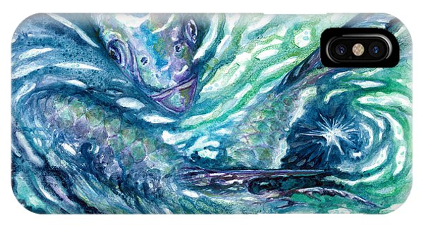 IPhone Case featuring the painting Tarpon Frenzy by Ashley Kujan