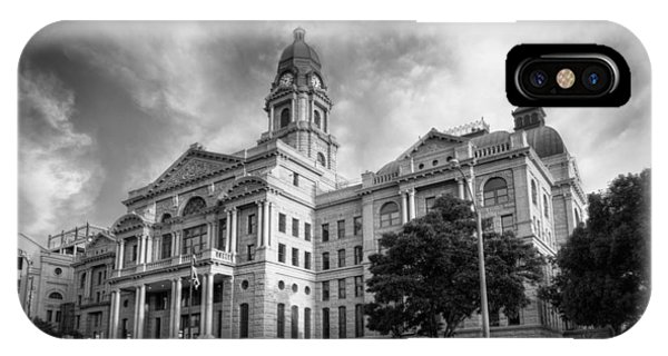 Imposing iPhone Case - Tarrant County Courthouse Bw by Joan Carroll
