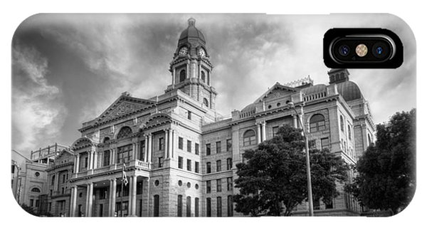 Tarrant County Courthouse Bw IPhone Case