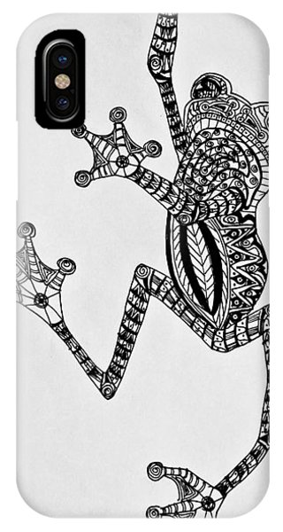 IPhone Case featuring the drawing Tattooed Tree Frog - Zentangle by Jani Freimann