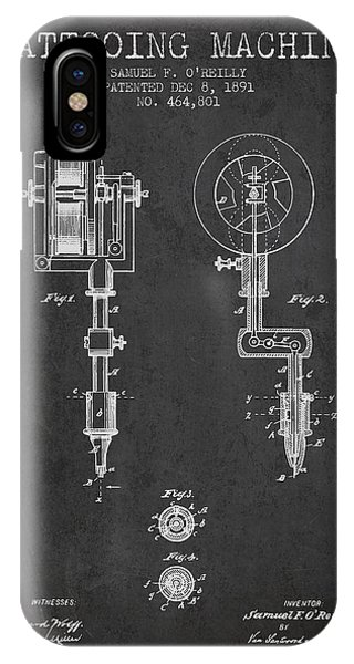 Tattooing Machine Patent From 1891 - Charcoal IPhone Case