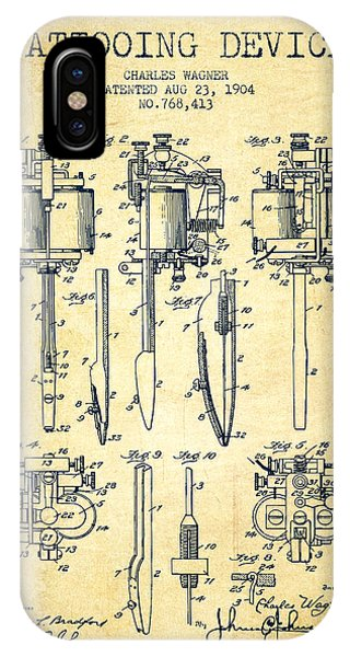 Tattooing Machine Patent From 1904 - Vintage IPhone Case