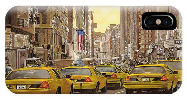 City iPhone Case - taxi a New York by Guido Borelli