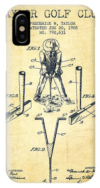 Golf Ball iPhone Case - Taylor Golf Club Patent Drawing From 1905 - Vintage by Aged Pixel