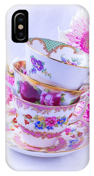 Saucer iPhone Case - Tea Cups With Pink Mums by Garry Gay