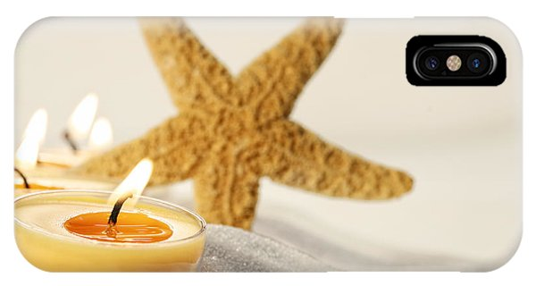 Tea Light Candles In Sand With Star Fish IPhone Case