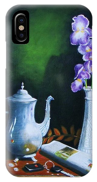 Tea Pot With Iris IPhone Case