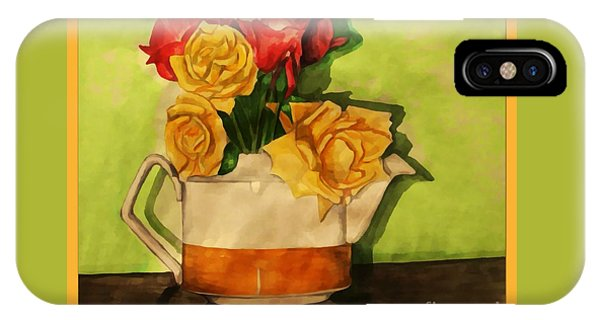 Tea Roses Bordered IPhone Case
