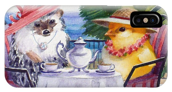 Tea Time For A Baby Chick And Hedgehog IPhone Case