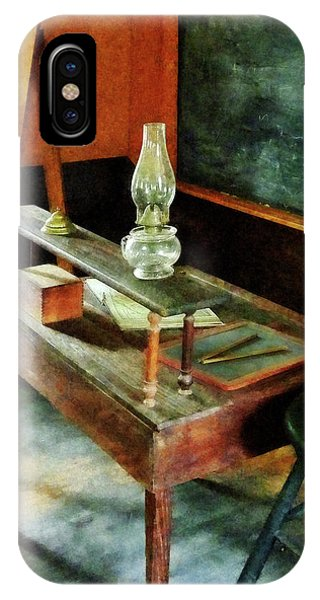 Teacher's Desk With Hurricane Lamp IPhone Case