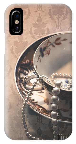 Jewelery iPhone Case - Teacup And Pearls by Jan Bickerton