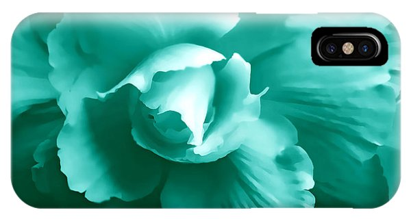 Teal iPhone Case - Teal Green Begonia Floral by Jennie Marie Schell