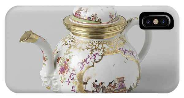 Lid iPhone Case - Teapot With Lid, Multicolor Painted With Chinoiserie by Quint Lox
