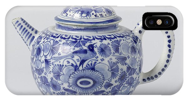 Lid iPhone Case - Teapot With Lid Of Blue Painted Faience, On Foot Ring by Quint Lox