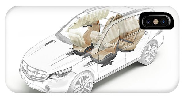 Technical Drawing Of Car Seats And Airbags Phone Case by Leonello Calvetti/science Photo Library