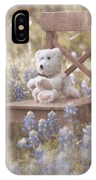 Teddy Bear And Texas Bluebonnets IPhone Case