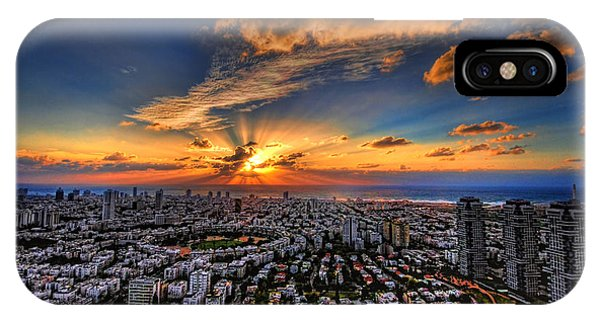 Meditative iPhone Case - Tel Aviv Sunset Time by Ron Shoshani