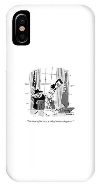 Cartoon iPhone Case - Tell Them Is Fake News by Pat Byrnes