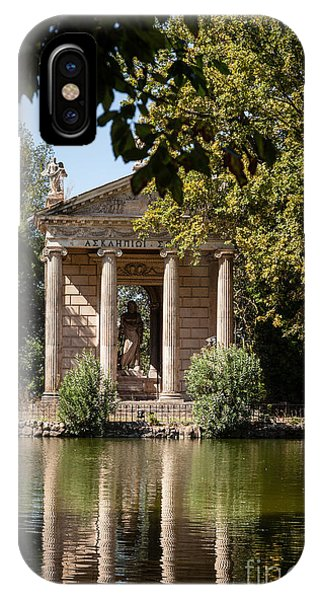 Temple Of Aesculapius And Lake In The Villa Borghese Gardens In  IPhone Case