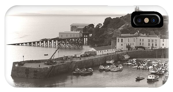 IPhone Case featuring the photograph Tenby Harbour And Castle Hill Vignette by Jeremy Hayden