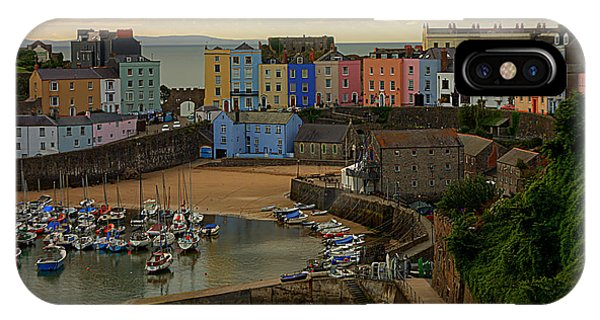 IPhone Case featuring the photograph Tenby Harbour In The Morning by Jeremy Hayden
