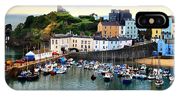 IPhone Case featuring the photograph Tenby Harbour Panorama by Jeremy Hayden