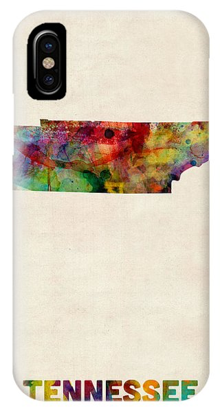 Tennessee Watercolor Map Phone Case by Michael Tompsett
