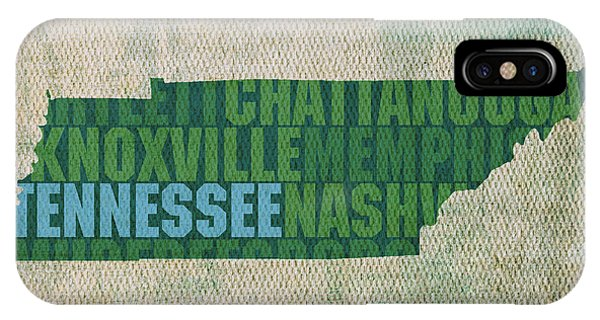 Tennessee Word Art State Map On Canvas IPhone Case