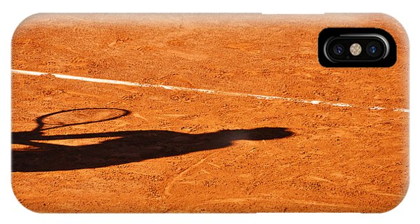Tennis Player Shadow On A Clay Tennis Court IPhone Case