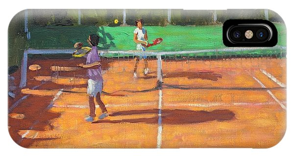 Racquet iPhone Case - Tennis Practice by Andrew Macara