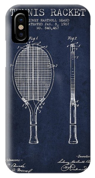 Tennis Racket Patent From 1907 - Navy Blue IPhone Case