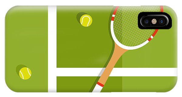 Vector iPhone Case - Tennis Racquet And Balls Are On The by Ilya Glukhov