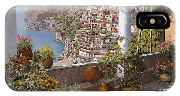 IPhone Case featuring the painting terrazza a Positano by Guido Borelli