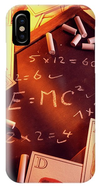 Test Answers Including E=mc2 On A Blackboard Phone Case by Tony Craddock/science Photo Library