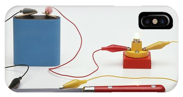 Electrical Component iPhone Case - Testing For Conductivity Using A Battery by Dorling Kindersley/uig