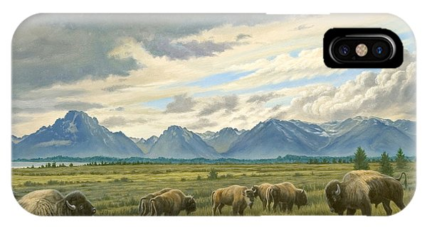 Teton iPhone Case - Tetons-buffalo  by Paul Krapf