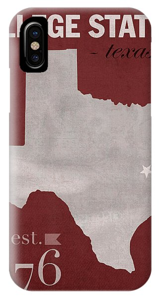 Aggie iPhone Case - Texas A And M University Aggies College Station College Town State Map Poster Series No 106 by Design Turnpike