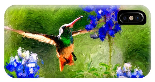 Da161 Texas Bluebonnet Hummingbird By Daniel Adams IPhone Case