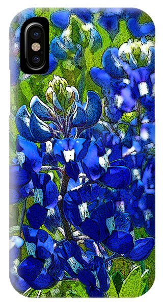 Texas Bluebonnets - Posterized Image IPhone Case