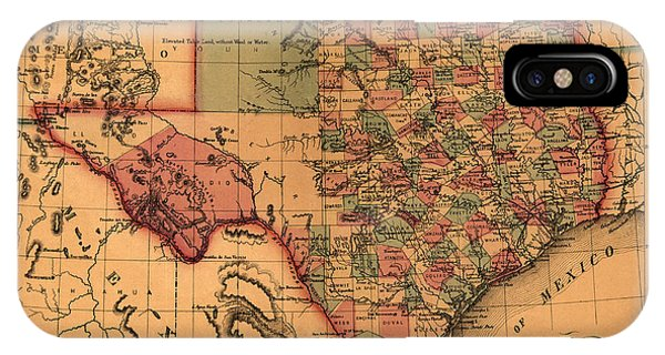 Texas Map Art - Vintage Antique Map Of Texas IPhone Case