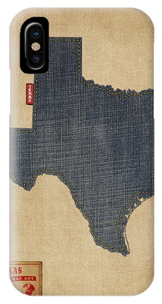 University iPhone Case - Texas Map Denim Jeans Style by Michael Tompsett