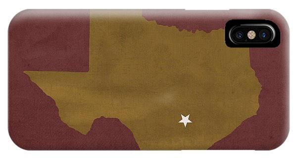 Bobcats iPhone Case - Texas State University Bobcats San Marcos College Town State Map Pillow by Design Turnpike